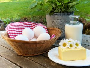 яйца, краве масло и прясно мляко