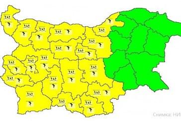 Очакват се бури и градушки в 19 области на страната