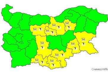 Жълтият код за опасно време остава в сила за десет области